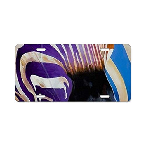 YEX Decorative Zebra License Plate with 4 Holes Novelty Car Licence Plate Covers Tag Sign 12