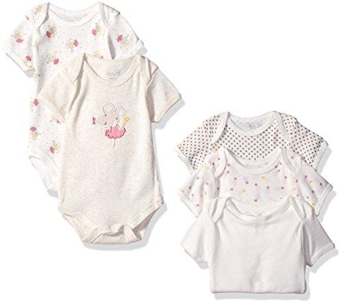 5 Pack Bodysuit Set (Rene Rofe Baby Girls' Shortsleeve Lap Shoulder Bodysuit 5 Piece Set, Natural Pretty Mouse, 0-3 Months)