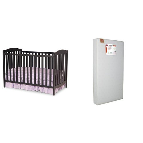 Delta Children Capri 3-in-1 Crib and Simmons Kids Beauty Sleep and Toddler Mattress, Black