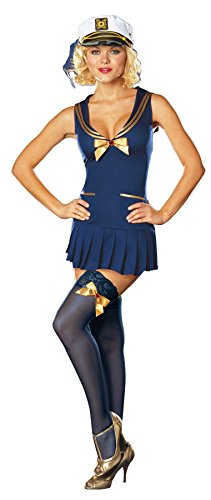 Pin Up Witch Costumes (GTH Women's Seaside Pinup Sailor Outfit Fancy Dress Sexy Costume, M (6-10))