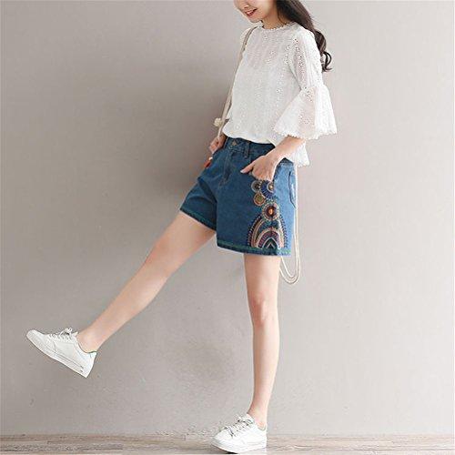 Shorts Taille Vintage Jeans FuweiEncore Amincissant en Rtro Taille Grande Haute Femme Bleu Chic aqHw5wzZ