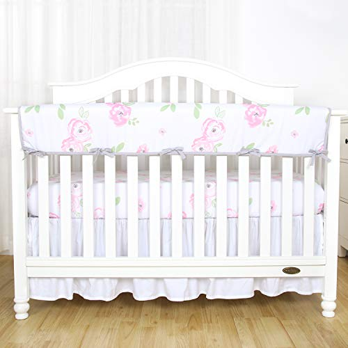 TILLYOU 1-Pack Padded Baby Crib Rail Cover Protector Safe Teething Guard Wrap for Long Front Crib Rails(Measuring Up to 18 Around), 100% Silky Soft Microfiber Polyester, Reversible, Floral Pink