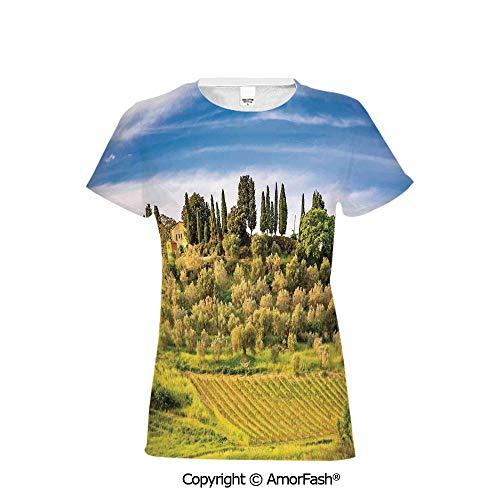 Girl's Casual Button Down Short Sleeve Shirt,Tuscan,Green Field Tranquil - Shirt Linen Toscano