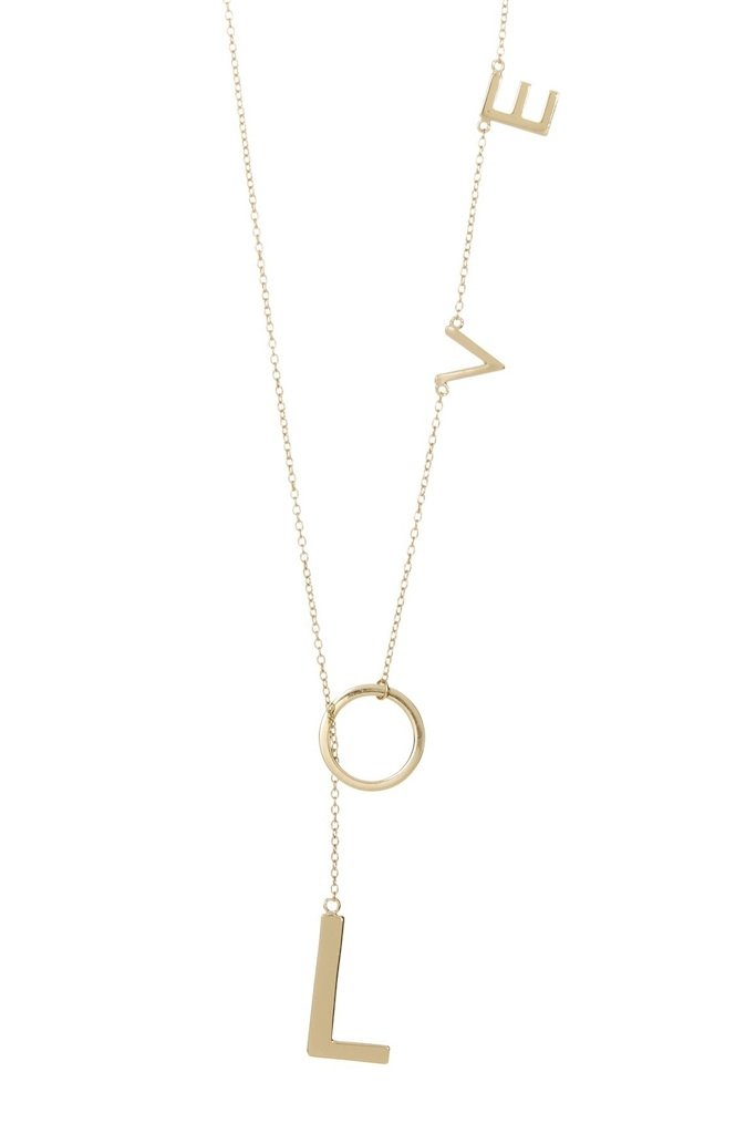 Adornia Love Necklace, Y Shaped Lariat, 925 Sterling Silver Necklace for Women, Yellow Gold Plated by Adornia