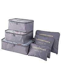 Bolsas de Viaje 6 En 1, IFORU Organizador de Equipaje Viaje (3 Bolsa de Malla + Lavandería Bolsa + Toiletry Bolsa + Bolsa de Zapato)Travel Organizer 6 Cube Organizer Ideal para Organizar Maletas de Mano (Gris)