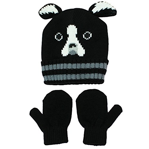 Nolan Black and White Unisex Bulldog Knit Sweater Hat and Mitten Set Toddler 2T-4T