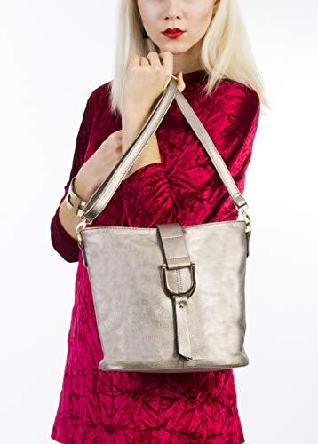 Da Donna In Shop Stile Borsa Secchio Croce Corpo A Tracolla bh157 beige Big Ecopelle Handbag pcCF1RESE