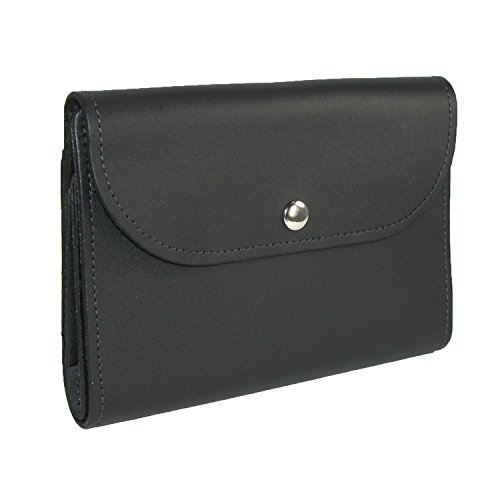 Deluxe Womans Wallet - CTM Leather Deluxe Top Stub Checkbook Wallet, Black