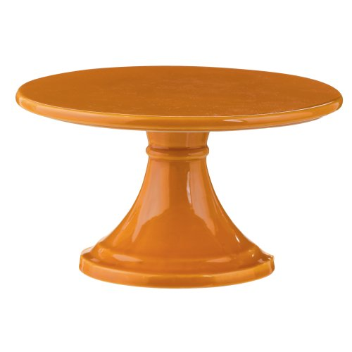 Grasslands Road Ceramic Pedestal Serveware, 6-Inch, Orange, Set of 2