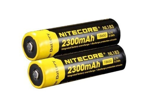 NITECORE NL183 3.7V 2300mAh 8.5Wh 18650 Li-ion Battery Rechargeable Lithium High-capacity Battery (Nitecore NL183 Battery) (2*NL183 2300mAh Battery) Black Cr123 Lithium Battery