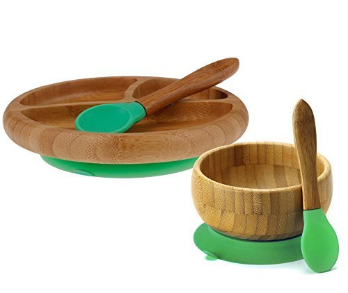 ''Maven Gifts:Avanchy Feeding Bamboo Spill Proof Stay Put Suction Bowl - Great Baby Gift Set, Green with Avanchy Feeding Bamboo Spill Proof Stay Put Suction Divided Plate - Great Baby Gift Set, Green''