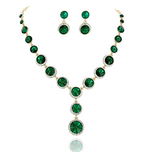 SP Sophia Collection Elegant Women's Jewelry Rhinestone Drop Necklace and Earrings Set in Gold ()