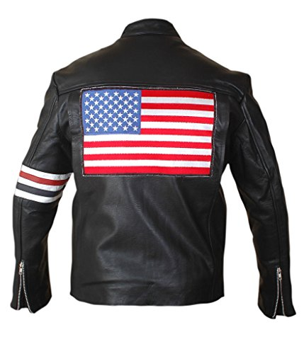 Wyatt Earp Costumes (F&H Men's US Flag Easy Rider Peter Fonda Genuine Leather Jacket L Black)