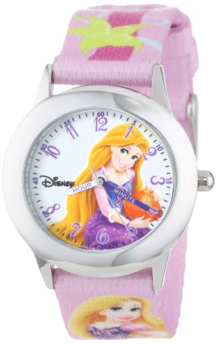 "Disney Kids' W000862 ""Rapunzel Time Teacher"" Stainless Steel Watch with Printed Band"