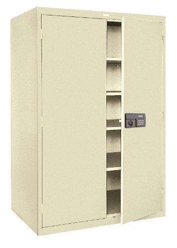 (Sandusky Lee KDE7824-07 Putty Steel SnapIt Storage Cabinet, 4 Adjustable Shelves, Keyless Electronic Coded Lock, Powder Coat Finish, 78