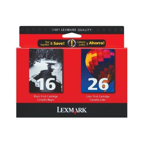 Lexmark 10N0202 OEM Ink - (#16/#26) Z13 Z23 Z25 Z33 Z35 Z515 Z605 Z611 Z616 Z645 Z75 X1150 X1185 X1270 Black/Color Ink Combo Pack (Includes 1 Each of OEM# 10N0016 10N0026) (335 290 Yield) OEM