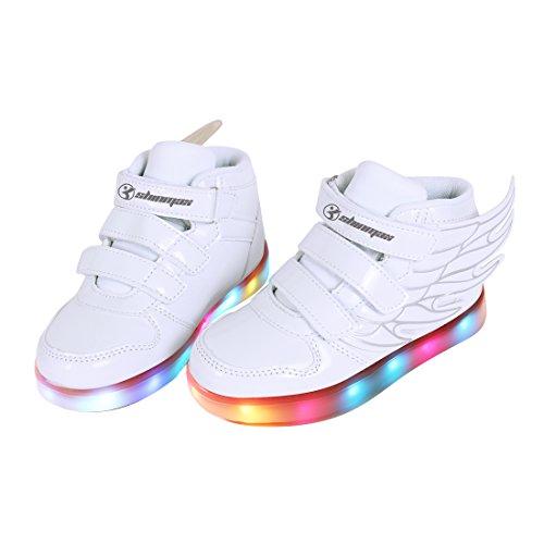 Angin-Tech Angel Serie Zapatillas LED 7 Colores de Carga USB para Intermitente Zapatos con Luces de Los Niños y Niñas para la Acción de Gracias de Navidad con el Certificado CE Blanco2