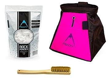 Psychi - Bolsa de magnesio para escalada en roca, con cepillo y magnesio, rosa: Amazon.es: Deportes y aire libre