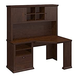 Bush Furniture Yorktown Corner Desk with Hutch and Lateral File Cabinet in Antique Cherry