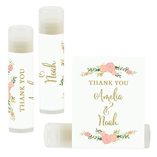 Andaz Press Personalized Wedding Party Lip Balm Party Favors, Faux Gold Glitter Print with Florals, Thank You, Bride & Groom Names and Date, 12-Pack, Custom