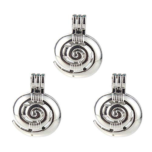 5X Silver Plated Swirl/Spiral Pearl Cage Locket Pendant Essential Oil Diffuser