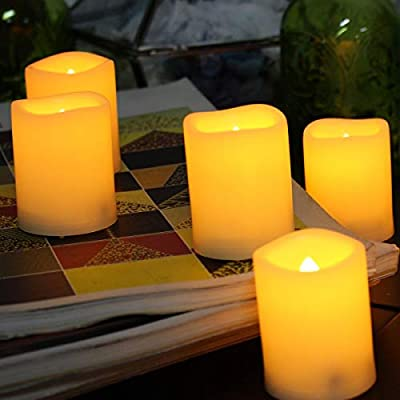 SWEETIME LED Tealight Candles with 6 H Timer, 200+ Hours Battery Operated LED Votive Flameless Candles, Indoor Outdoor Flickering LED Candles(12 PCS of Ivory): Home Improvement