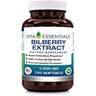 Vita Essentials Softgels, Bilberry Extract, 1000 Mg, 120 Count