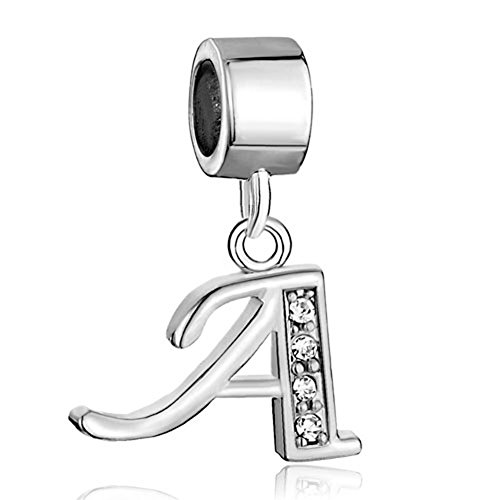 Pendant Charm Dangling (Letter A Charms Silver Cubic Zirconia A-Z Initial Letters Alphabet Dangling Charms Pendant)