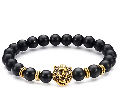 Jewelry Natural Agate Stone / Gold-plated Lion Head Mens 8 mm Beads Elastic Bracelets for women and girls