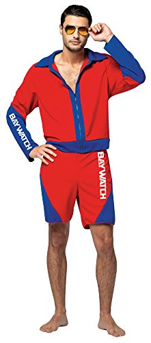 Mens Halloween Costume- Baywatch Male Lifeguard Suit Adult (Funny Baywatch Costume)