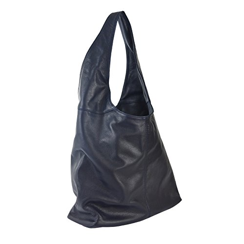 Woman's in leather CTM Blue D6170 made shoulder Dark bag Italy 41x55x12 in Cm genuine dWgwqA