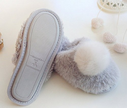 Soft Warm Cattior Fluffy Womens Slippers Pom Ladies Slippers Gray poms Ligth rIIPw