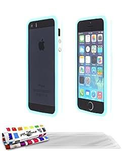 Muzzano F868406- Funda para Apple iPhone 5, color blanco/azul laguna , incluye 3 protecciones de pantalla