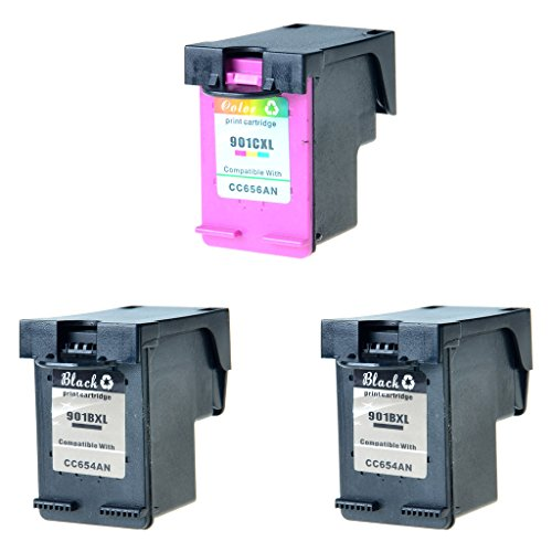 NineLeaf Office Products 901-XL CC654AN Black CC656AN Color Remanufactured Inkjet Compatible for HP 901XL OfficeJet J4624 J4660 J4680 J4680c 4500 Printer Combo Pack Ink Cartridge (2 Black & 1 (J4680 Inkjet Printer)
