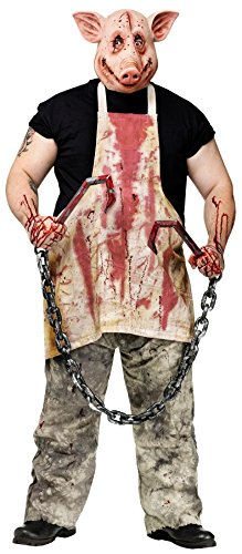 Halloween Saw Costume (FunWorld Pork Grinder Adult Pig Costume, Tan, One size)