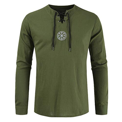 - JJLIKER Men's Vintage Long Sleeve Shirt Tops Lace Up Drawsting Cotton Linen T-Shirt V-Neck Casual Blouse Army Green
