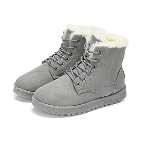 Couleur Automne Martin Laine Bottes Rétro Gris Hiver Wedge Suédé Lacets Femmes Artificielle Inconnu Pure de 36 Chaussures Neige SU48wP