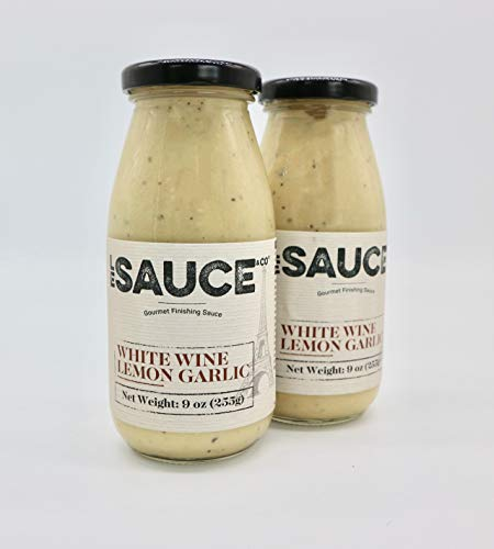 Le Sauce Gourmet Lemon White Wine Garlic Finishing Sauce, low sugar, great on chicken, vegetables, fish, foodie approved. Cream, butter, yum (2-Pack) (The Best Chicken Marinade Ever)