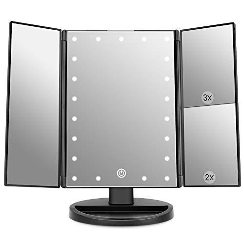 WEILY Espejo de Maquillaje de vanidad, 1x / 2X / 3X Espejo de Maquillaje de Tres Pliegues con 21 Luces LED y Pantalla tactil Ajustable Espejo Iluminado Tocador Espejos cosmeticos de encimera (Negro)
