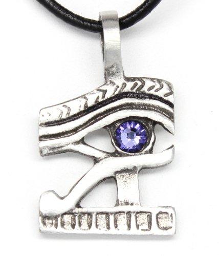 Pewter Eye of Horus Ra Egyptian Pendant on Leather w/ Swarovski Crystal Lavender June - Eye Udjat Pendant