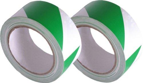 50mm x 33M Green and White Stripe Adhesive Hazard Tape (Pack of 2) Newsome