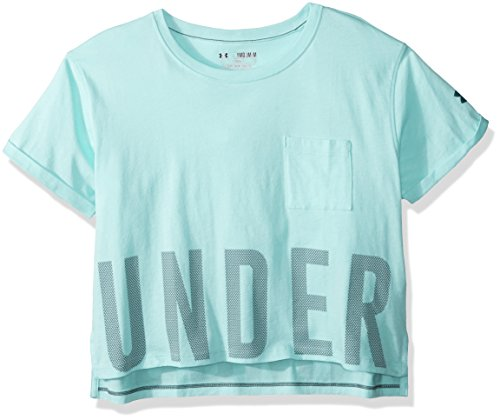 Under Armour Girls' Studio Short Sleeve T-Shirt,Blue Infinity/Arden Green, Youth Medium