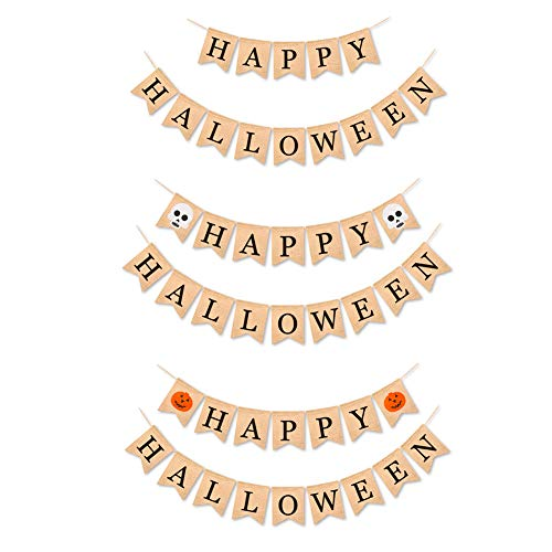 Develoo 3PCS Happy Halloween Burlap Banner, 6.6 Feet Long Garland Ghost Pumpkin Printed Burlap Bunting Banners for Halloween Party Decoration Supplies - 6 String]()