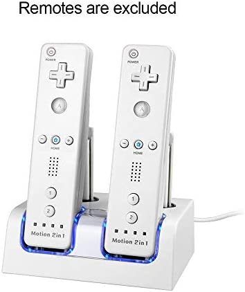 Maliralt 4 in 1 Charging Dock for Wii,LP14 4 Ports Remote Controller Charging Dock with 4 Rechargeable Batteries and LED Light Indicators Charging Cable(Third Party Made)-White