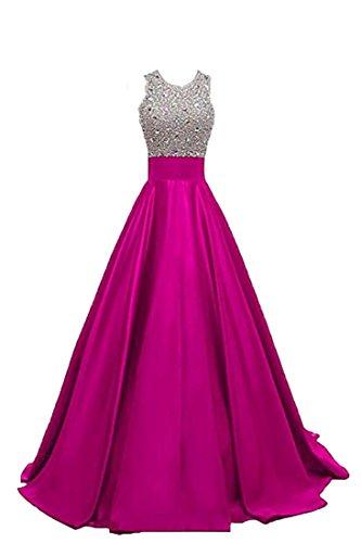 Centre Commercial Robes De Brl Bal En Satin De Cristal Femmes Longues Robes De Bal Perlées Partie Zp352 De Fuchsia