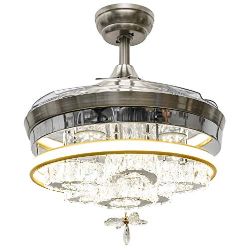 Huston Fan Modern Crystal Chandelier Fan with 4 Retractable Invisible Blade for Indoor Dining Kitchen Bedroom Living Remote Ceiling Fan Light LED 42 Inch Gold and Silver-3 Color Change,3 Down Rod
