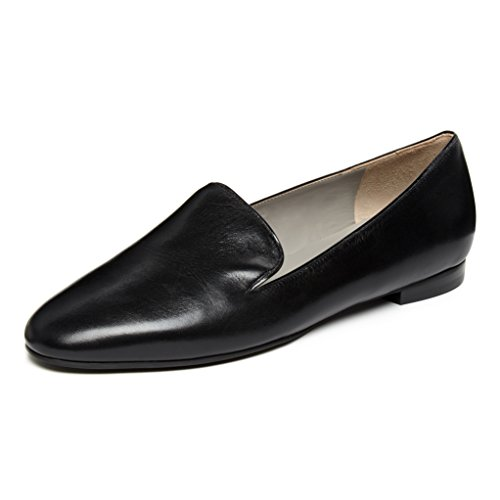 Black kid loafer flats with black patent trim LoDvkITTO