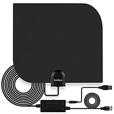 Leelbox TV Antenna Indoor Digital HDTV Antenna 60~80 Mile Range Amplified 4K 1080p Full HD Antenna for Free Local Channels with Amplifier Signal Booster - 16.5ft Longer Coax Cable - Black/White