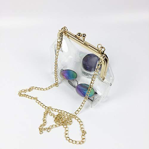 Purse with Transparent and Color Mengsha's Gold Chain Golden PVC Clasp EqOxxT