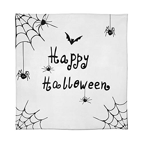 YOLIYANA Warm Flannel Blanket,Spider Web,for Folding Bed Crib, Stroller, Travel, Couch and Bed,Size Throw/Twin/Queen/King,Happy Halloween Celebration Monochrome Hand Drawn Style]()